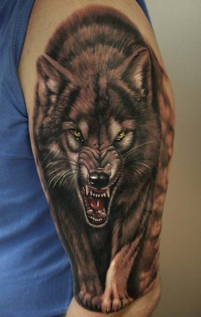Grinning Wolf Fangs  Tattooimagesbiz