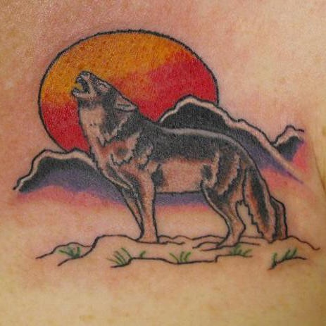 Howling wolf red moon and mountains tattoo for Red wolf tattoo
